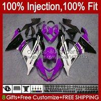 Corps d'injection pour Kawasaki Ninja ZX 6R 600CC 6 R 636 600 CC ZX6R 13 14 15 16 17 18 12NO.75 ZX-636 ZX-6R ZX600 ZX636 2013 2014 2015 2016 2017 Kit de carénage OEM violet blanc