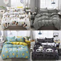 4 UNIDS Ropa de cama Conjunto de algodón Super King Duvet Funda Conjunto de moda Hoja de cama Gris Poliéster Duvet Funda King Tamaño Sistema de cama de lujo 97 V2
