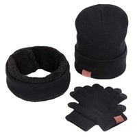 Gym Clothing 3pcs set Winter Slouchy Beanie Hat, Scarf Neck Warmers, Gloves Set Warm