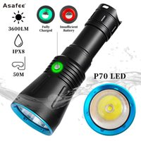 Flashlights Torches Diving XHP70 LED High Power 3600lm Underwater Torch Rechargeable Dive Light Outdoor Lighting Lanterns