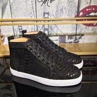 2021 Çivili Spike Ayakkabı Kırmızı Dipleri Sneakers Erkek Kristal Yüksek Üst Rahat Ayakkabılar Perçinler Dikiş Baskı Kadın Loafer'lar Süet Deri Siyah Kutusu Boyutu Ile 13