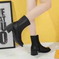Boots Drop Women's PU Leather High Heels Ankle Winter Fashion Thick Heeled Short Booties Mujer Black Zipper Shoes