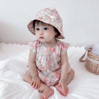 2021 شحن مجاني الصيف ملابس الطفل جديد السروال القصير الملابس أزياء لطيف الكرز يطبع الاطفال الملابس + قبعة طفل فتاة اللباس