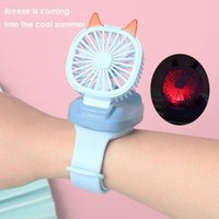 Electric Fans Portable Mini Watch Fan USB Charging Air Cooling Removable Desktop With Colorful Lights For Student Kids Gifts Home