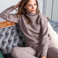 Два куска платье MVGIRLRU Женщина-свитер костюмы повседневный клейкий трексуит Turtleneck Pullovers + штаны устанавливают женские наряды