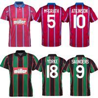 1993 1995 Villa Retro Soccer Jersey 93 94 95 Aston McGrath Houghton Richardson Saunders Yorke Ehiogu Home Away Camisa de Futebol Vintage Clássico