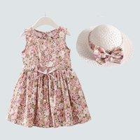 Girl's Dresses 2PCS Set Girls Dress +Hat Cotton Comfortable Children's 2021 Summer Floral Girls' Sleeveless For Children