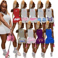 2021 Nuove Donne Estate TrackSuits Moda lettera stampata Due pezzi Set Sexy Sports Sports Suit Solid Color Glewt Shorts Outfits Vendita calda 10 colori
