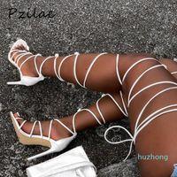 Venta caliente-pzilae 2021 nuevas mujeres Gladiador Rodilla High Sandalias Abre Toe Lace Up Cruz Sandalias Sandalias Mujeres Tacones Altos Moda Zapatos Sexy