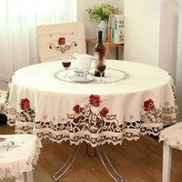 Table Runner Lovely Floral Design Tablecloth Rural Style Embroidered Round Cloth Supply
