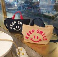 Korean Smiley Face Bag Plush Female Crossbody Autumn Winter Large-Capacity Cute Simple Lamb Hair Handbag Shoulder Bags
