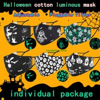 Halloween Face Mask Fashion Funny Luminous Facemask Tricky 3-Layer Washable Cloth Masks Printing Mouth Cover for Banquet Reunion Queue