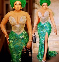 2021 Plus Size Arabic Aso Ebi Luxurious Mermaid Sexy Prom Dresses Beaded Crystals Lace Sheer Neck Evening Formal Party Second Reception Gowns Dress ZJ022