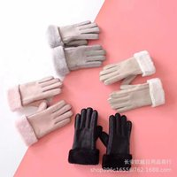 Sheepskin wool fur integrated outdoor cycling driving cold proof women's split finger gloves warm and thickened winter men's skiing