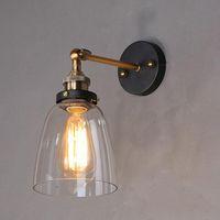 벽 램프 미국 로프트 레트로 골동품 명확한 유리 램프 갓 빈티지 E27 에디슨 침실 장식 황동 철 조정 가능한 LED