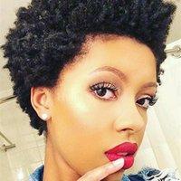 Cheap Perucas de Cabelo Humano Afro Curly Brasileiro Cabelo Brasileiro Afro Kinky Natural Natural Cabelo Humano Nenhum Lace Glueless para Mulheres Negras Perucas Celebridade