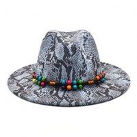 새로운 패션 프린트 Fedora 여성을위한 고품질 양모 와이드 브림 모자 가을 파티 공식적인 모자 카우보이 모자