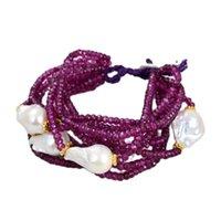 Beaded, Strands JK 10 Rows 18MM White Keshi Pearl Purple Faceted Jades Stone Bracelet For Women