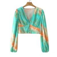 Frauen Blusen Hemden Yenkye Frauen Vintage Krawattenfarbstoff Crop Top Sexy V-Ausschnitt Langarm Taste Satin Bluse Mode Sommer Tops