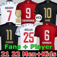 21 22 FC Bayern Münih Lewandowski Futbol Forması Goretzka Hayranları Oyuncu Sürüm Ev Kırmızı See Gnabry Coman Muller Davies Kimmich 2021 2022 Erkekler + Çocuk Kiti Futbol Gömlek