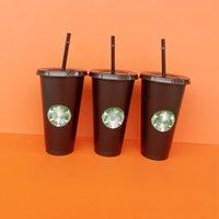 Starbucks Mugs 16oz 473ml Tumblers Mug Plastic Drinking Juice With Lip And Straw Magic Coffee Costom Transparent Cups ZWL650