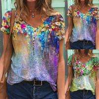 Women's T-Shirt Flower Pattern T-shirts Plus Size Women Short Sleeve Printed V-neck Tshirts All-match Painting Tops #PY