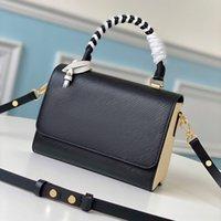 Luxuoso design de couro feminino bolsa de ombro emenda simples modelagem pequeno saco quadrado graffiti estilo pendurado envelope saco m56779