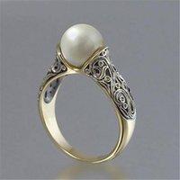 Кластерные кольца 14k желтое золотое кольцо для женщин свадебные полосы тонкие жемчужные украшения роскошные рождественские классические вовлечения GDTC