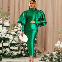 Abiti casual Donne Donne Maxi Long Lantern Dress Bodycon High Collar BodyCon Sexy Shiny Celebrazione occasione African Robes Evento di compleanno
