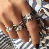 Wedding Rings 3pcs Big Cubic Zircon Knuckle For Women Silver Color Crystal Finger Ring Set Boho Female Jewelry