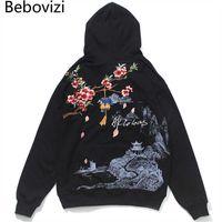 BEBOVIZI Chinesische Stil Blumen Stickerei Hoodie Sweatshirt Männer Harajuku Hoodie Streetwear Mit Kapuze Pullover Lose Hip Hop Schwarz x0610
