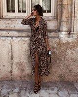 NOUVEAU Style Femmes Robe Femmes Sexy Femmes Léopard Moussure longue Manches longue Cou Cou Décontracté Partie Vintage Boho Long Split Robe Mode Hot1