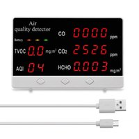 Smart Home Control الرقمية عرض رقمي داخلي / في الهواء الطلق CO2 HCHO TVOC كاشف متر عالية الدقة جودة الهواء مراقبة الغاز محلل