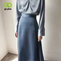 Saia feminina Estilo coreano A linha cetim azul preto cintura alta torção duração mulher saias mujer faldas femme jupes sanias mulher