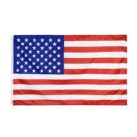 US Stock 90 * 150 cm 미국 국기 폴리 에스터 더블 라인 웅크 리고 가장자리 미국 별과 줄무늬 정원 광장 배너 미국 국기