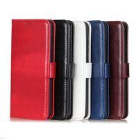 Funda de cartera de cuero PU para iPhone 11 x 7 8 con ranura para tarjeta Soporte de ranura Samsung Huawei Moto Cinco colores opcional