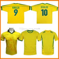 Brasile Home Retro Soccer Jerseys Brasil 1994 1998 2002 2004 Camicie classiche Carlos Romario Ronaldo Ronaldinho Jersey Camisa de Futebol Kit