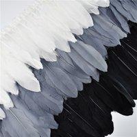 2meters witte zwarte ganzenveer versieringen bruiloft decoratie natuurlijke veren lintrand voor handwerken en handwerk