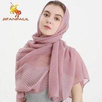 Sciarpe jifanpaul primavera e autunno colore puro hijab foodscarf increspato monocromatico scialle in cotone biancheria da donna pieghettata sciarpa