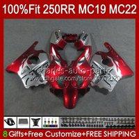 Injektionsformmissor för Honda CBR 250RR 250 RR CC 250R CBR 250CC 1988-1989 Bodys 112HC.123 CBR250 RR CC 1988 1989 MC19 88-89 CBR250RR 88 89 OEM Full kit Metallisk röd