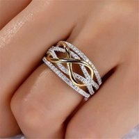 Creative Golden Infinity Love Design Heart Zircon Ring para las mujeres Forme la joyería de la fiesta de compromiso de la boda