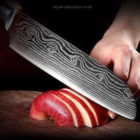 Coltello da 7 pollici Chef Imitazione Damasco Acciaio Acciaio Sharp Cleaver Sushi Coltelli in legno manico in legno fluido sabbia onda modello cucina carne coltelli DH1472