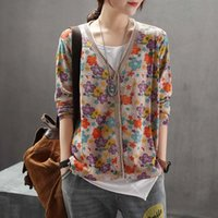Women's Jackets 2021 Autumn Vintage Knitting Sweater Thin Womens Loose Retro Floral Print Button Caridgan Sweaters Coat Ribbed Top OS046