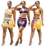 Traje de baloncesto de las mujeres de verano Vestimenta sin mangas + falda Dos piezas Fashion Traje de moda Número de letras Impresas Damas Deportes Outfits Casual Trajes G77SB6i