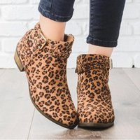 Boots Women Autumn Winter Ponited Toe Shoes Leopard Booties Buckle Strap Square Heel Zapatos De Mujer Wedges Gothic