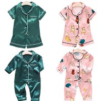 Pajamas Boys Girls Suit Silk Children