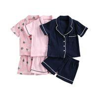 FocusNorm 2-7y verão bebê meninas meninos pijama conjuntos padrão imprimir manga curta única camisas trespedadas tops shorts 2pcs 210908