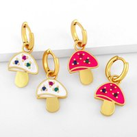 Hoop & Huggie CANNER 2021 Trend Copper Earrings For Women Girls Candy Color Drop Oil Mushroom Hoops Ear Rings Birthday Gift Aretes 2PCS