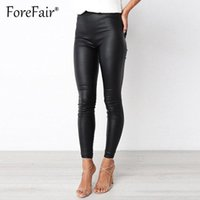 Women's Pants & Capris Forefair Plus Size PU Leather Women Trousers Elastic Waist Hip Push Up Black Sexy Reflective Leggings