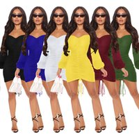 2021 New Package Hip Solid Color Long Sleeve Dress Elegant Women Rucehd Drawstring Mini Party Dresses Autumn Slim Bandage Robe